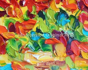 Geranium Oil Painting, Palette Knife Oil Painting, impasto, original art,
