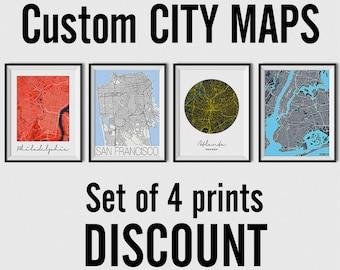 Set of 4 City Maps - Multiprint Discount - custom city map