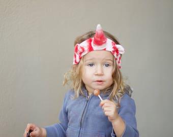 Holiday unicorn headband, organic unicorn headband, red and white striped
