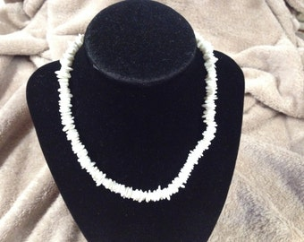 Vintage White Stone Beaded Necklace, 16'' Long