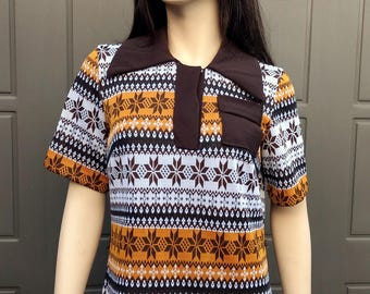 Vintage 60's Mod Dress Nordic.. Tribal print  Sz Medium/Large