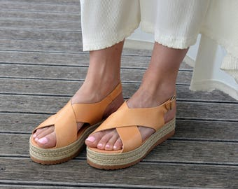 Greek Sandals, Espadrilles Sandals, Leather Flatform Sandals, Criss Cross Sandals, Slingback Platform Sandals ''Naxos''