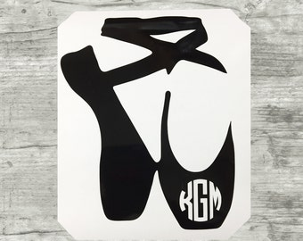 Pointe Shoes, Pointe Ballet Monogram, Ballet monogram decal, dance monogram, ballet decal, toe ballet monogram decal, bun head monogram