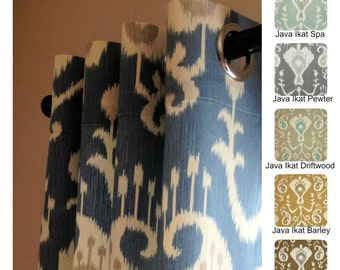 Java Ikat Grommet Curtains Drapery Panels 63 72 84 96 108 or 120 Long by 24 or 50 Wide
