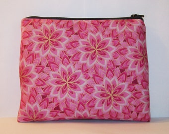 "Padded Pipe Pouch, XL Pipe Bag, Pink Floral Bag, Padded Zipper Bag, Pouch, Boho Chic Pouch, 420, Gadget Bag, Smoke Bag, 7.5"" x 6"" - X LARGE"
