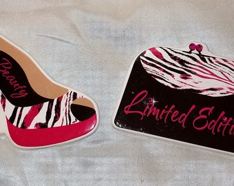 "Pink, Black & White Zebra Stripe Design High Heel Shoe w/ Pink Rhinestones Heel Magnet and ""Limited Edition"" Purse Magnet Set"