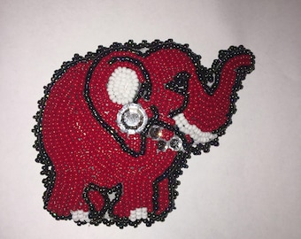 Beaded Red Elephant Pin for Stacie