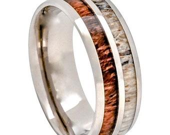 Men's Titanium Antler Koa Wood Wedding Band Comfort Fit Lightweight Ring Hunter