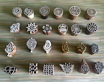 Set of 10 small wood Stamps, paisley stamps, flower stamps, printing stamp, Tjaps, fabric stamp ,scrapbook stamp, pottery stamp, clay stamp