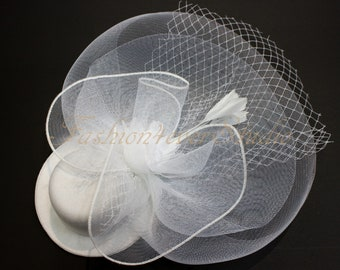White Headpiece 12 inches, Flower Fascinator, Feather Headpiece, Flower Fascinator, Feather Fascinator, With Hair Clip and Brooch Pin Back