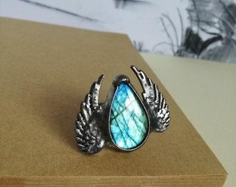 inspirational women gift- Labradorite Ring - Angel Wing Ring - Memorial Jewelry - Memorial Ring - Wings - Guardian Angel Wings