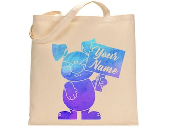 Custom Water Color Easter Bunny Tote