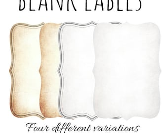 """Printable Blank Apothecary Labels(2"""" x 3"""") Vintage Bottle-Jars Labels, Instant Download,Four different variations blank label"""
