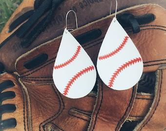 Leather Baseball Earrings, Teardrop earrings, Leather earrings, Baseball mom, Team Spirit, Nickel Free Earrings, Jewelry, Earrings