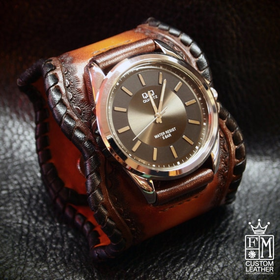 Leather Cuff Watch sunburst brown fade Traditional American ROCKSTAR Bracelet made for YOU in USA by Freddie Matara