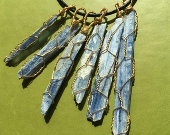 Kyanite Wire Wrap Necklace