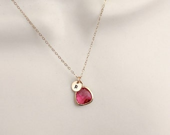 Ruby Necklace, Rose Gold Initial Necklace, Personalized Dainty Necklace, Delicate Rose Gold Necklace, Initial jewelry, small necklace,