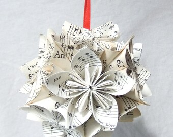 Sheet Music Ornament, Large Origiami Ornament, Christmas Tree Ornament, Music Decor, Wedding Decor, Musical Gift, Fan Pull, Paper Flowers