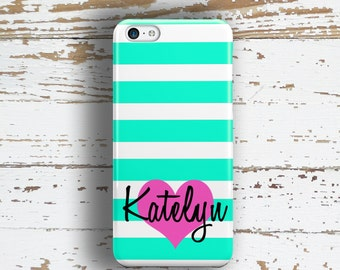 Monogram gift for teenaged daughters, Heart phone case, Turquoise Fits iPhone 4/4s 5/5s 6/6s 7 8 5c SE X and Plus Girly case for her  (1414)