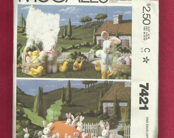 1981 McCalls 7421 Easter Bunnies Baby Bunnies Baby Chicks Eggs and  Baskets UNCUT