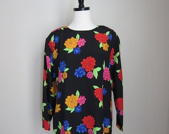SALE 50% off - 1980's neon bright floral blouse - size x-small/small/med