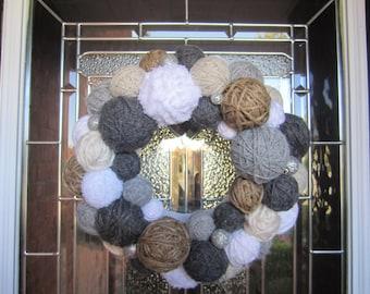 "16"" Handmade Winter Yarn Ball Wreath"