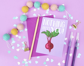Funny friendship greeting card, Best friend card, Funny card, Funny pun card, Beet pun, Beet pun card, Beetroot card, Doodle card