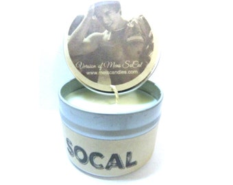 Socal Mens Type - 4 ounce soy tin candle take it anywhere! Approximate Burn Time 30+ Hours