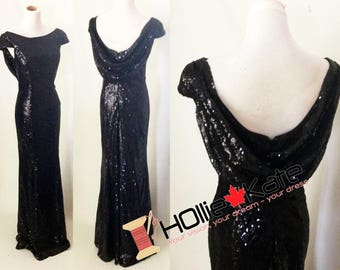 Black bridesmaid dress, black sequin gown, sequin bridesmaid dress