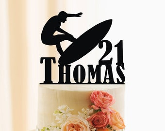 Surfing Cake Topper, Surfer Birthday Cake Topper, Personalized Birthday Cake Topper, Surfing Cake Topper, Custom Name and Age