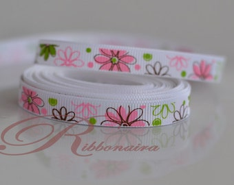 """Floral grosgrain ribbon size 3/8"""" 1 OR 5 yards  hair clips GR9mm-002 , accessories , decoration"""