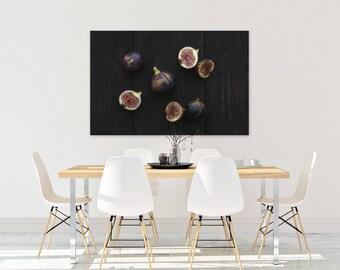 fig v. three // food photography print // kitchen decor // dining room // canvas art // canvas print // rustic farmhouse wall art