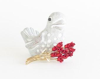 Dozen Red Roses Brooch Pin