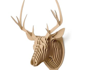 Hubert - cardboad deer trophy Wall 3D Puzzle DIY Kit Paper recycled sculptur animal wall decor decorative Gift Diy kit original