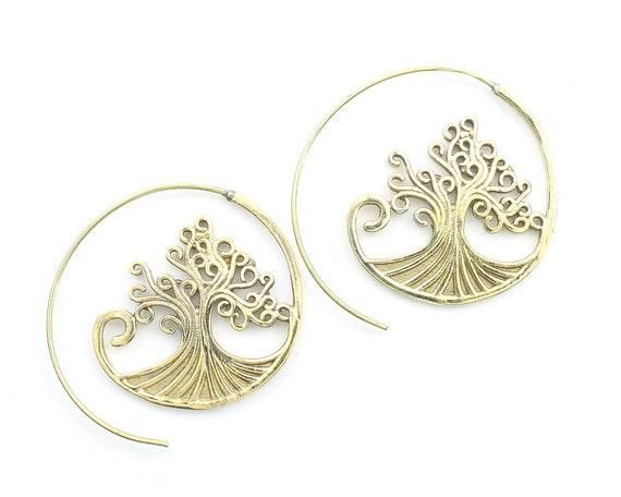 Tree Of Life Earrings, Spiral Tree, Boho, Bohemian, Tribal, Nature, Festival Jewelry, Gypsy Earrings, Ethnic, Hippie