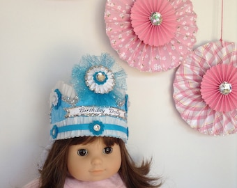 Whimsical Dolly's Crown, Pretend Play, Mommy and Me, Doll Birthday Crown, Dress up Crown, Costume Crown, Birthday Crown, Play Crown,