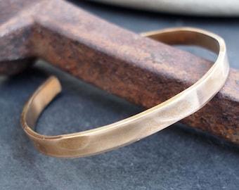 Hammered Bronze Bracelet, 8th Anniversary Gift, Men's Bronze Cuff