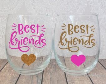 Best Friend Gift, Best Friend Wine Glass, Best Friend Long Distance, Best Friends Gift, Best Friend Wine Glasses, Best Friend Christmas