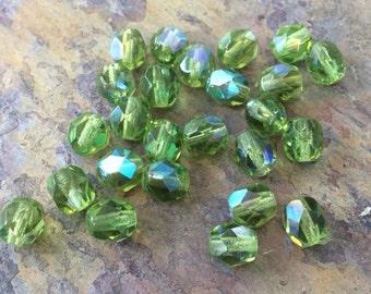 25 AB Olivine Fire polished Czech Glass Round Beads 6mm