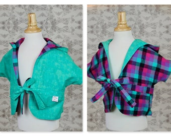 Reversible Toddler Short Sleeve Kimono Hoodie - Mint/Magenta