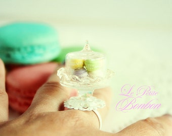 Assorted Macarons on a cake dome ring