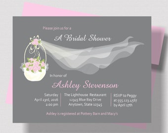 BRIDAL SHOWER INVITATION Pink and Gray Shabby Chic Floral with Wedding Veil | Beautiful Bridal Shower Invitation Rustic Pink Floral Basket