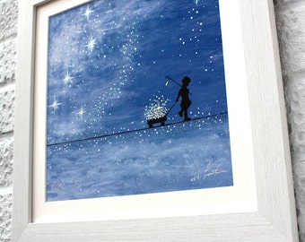 Catch your own stars, Fine Art, limited edition, hand decorated, giclee print, UK Seller.