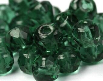 Czech Glass Beads Fire Polished Gemstone Donuts 4x6mm Prairie Green (25) CZF238