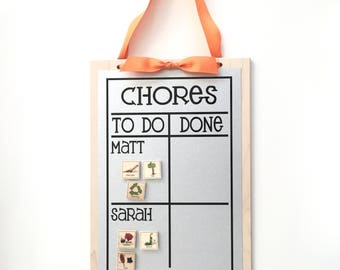 Multiple Name Chore Chart - 13 x 9 Magnet Board - Personalized Chore Board with 2-4 names - Magnetic Chore Chart - With optional Magnets