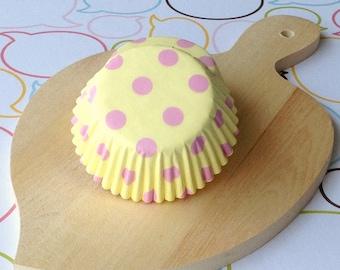 Yellow/Pink Polka Dot Standard Cupcake Liners
