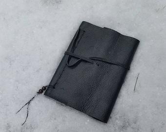 Black leather hand bound journal