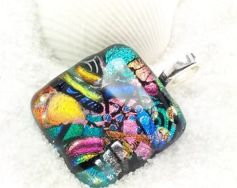 Dichroic glass pendant, fused glass jewelry, dichroic jewelry, glass fusion necklace, jewelry handmade, artisan jewelry, rainbow necklace