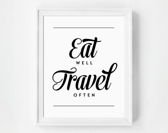 Eat Well Travel Often Print, Inspirational Quote, Minimalist Typography Print, Gallery Wall, Kitchen Art, Inspirational Typography Wall Art