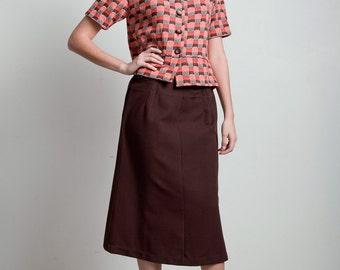 vintage 70s skirt suit set matching jacket peplum top wave pattern brown orange poly knit LARGE L